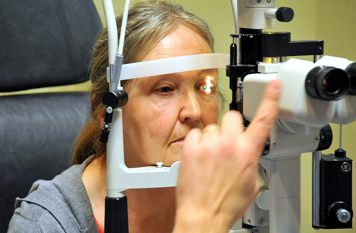 woman receiving an eye exam