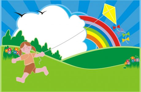 kids flying kite
