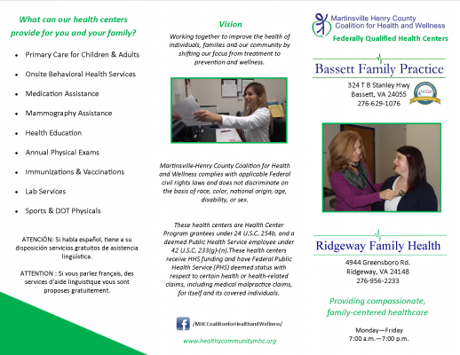 Health center brochure