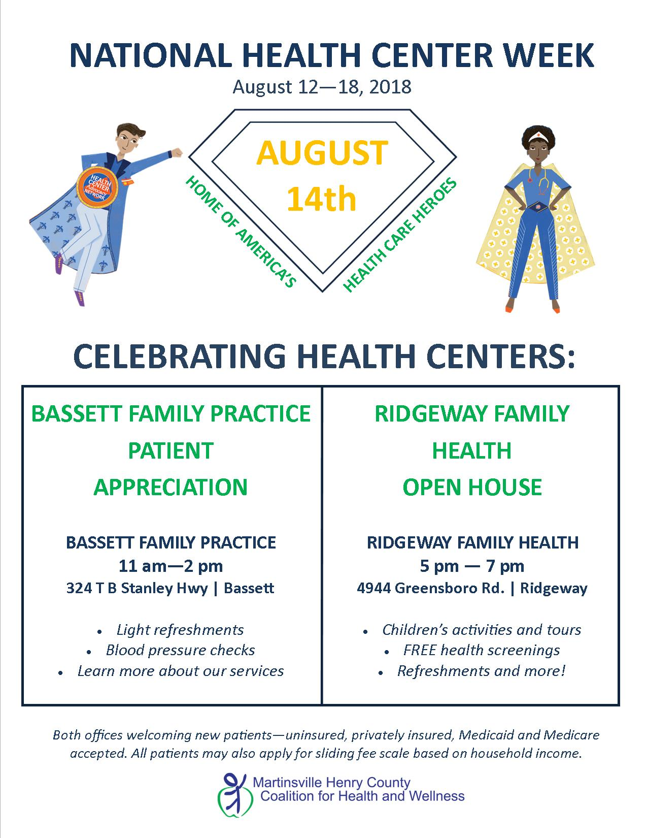 National Health Center Week August 12 - 18 | Martinsville Henry ...