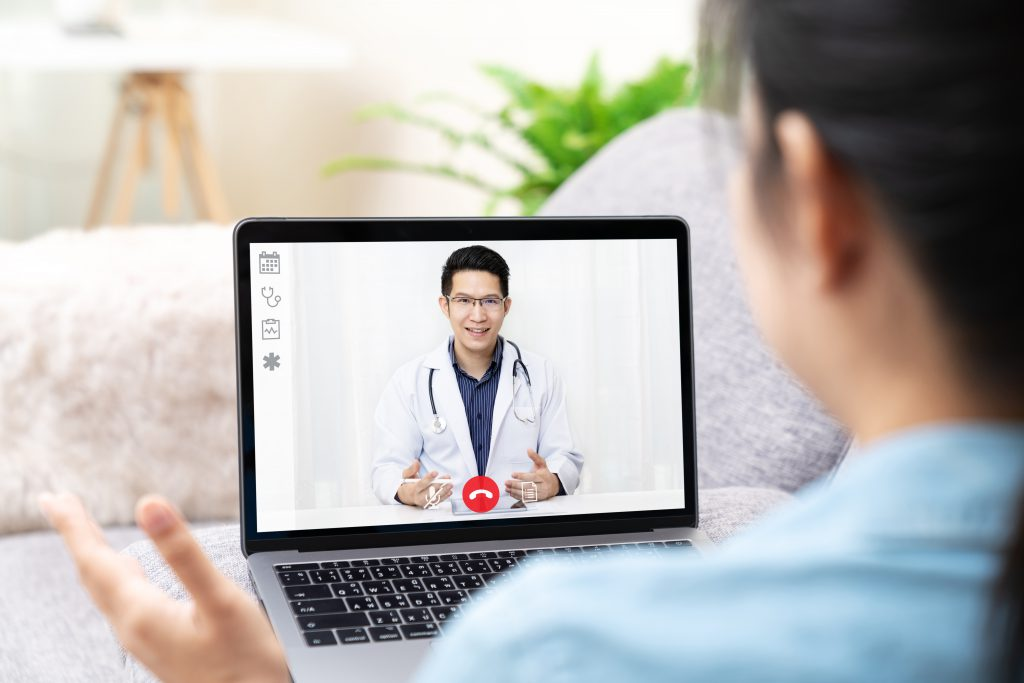 Patient visiting doctor over the computer