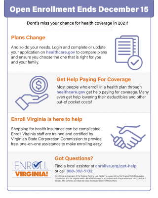 flyer with Marketplace Open Enrollment Info
