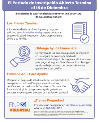 Flyer with Marketplace Open Enrollment Info Spanish