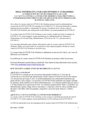 Moderna COVID-19 Fact Sheet (español)