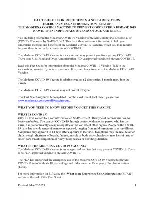 Moderna COVID-19 Vaccine fact sheet (English)